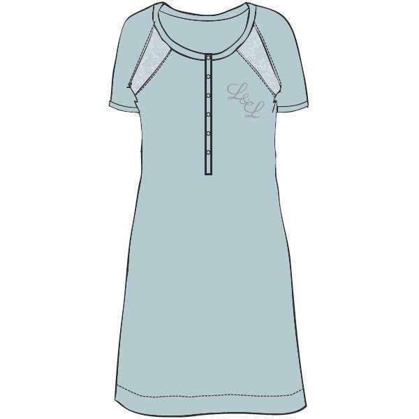 LORDS & LILIES Nachtkleedje, kapmouw, misty blue