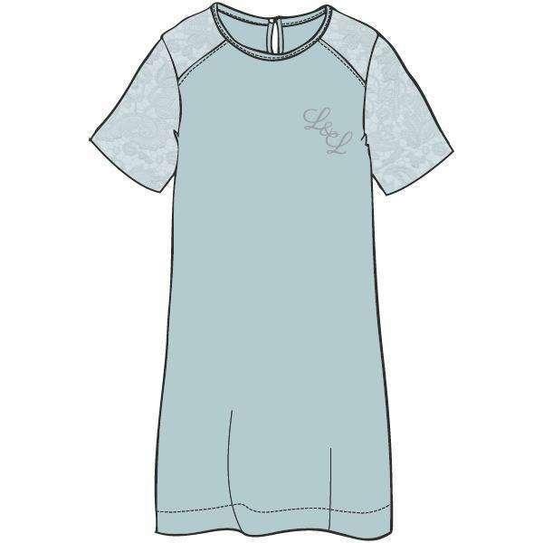 LORDS & LILIES Kleedje, 3/4 mouw, kant, misty blue