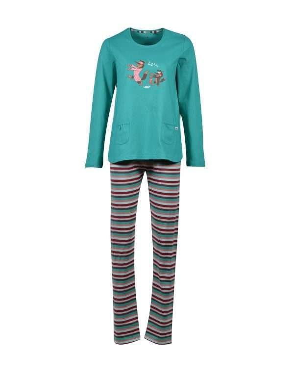 Woody Meisjes-Dames pyjama, aquagroen