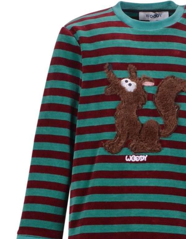 Woody Jongens-Heren pyjama, groen-bordeaux gestree