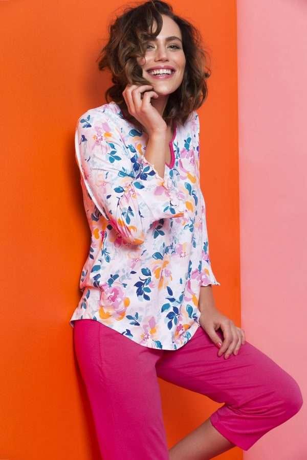 LORDS & LILIES Dames pyjama, roze bloem all-over p