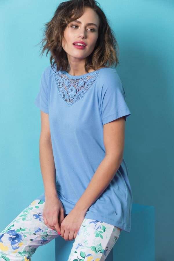 LORDS & LILIES Dames pyjama, blauw