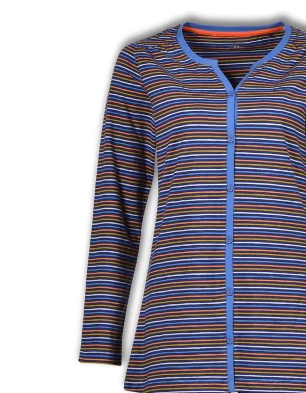 Woody Dames pyjama, donkerblauw-oranje-oker gestre