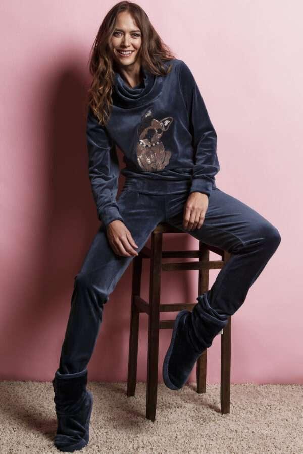 LORDS & LILIES Dames sweater en broek, donkerblauw