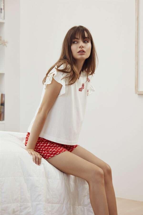 LORDS & LILIES Dames pyjama, vlinders rood all-ove