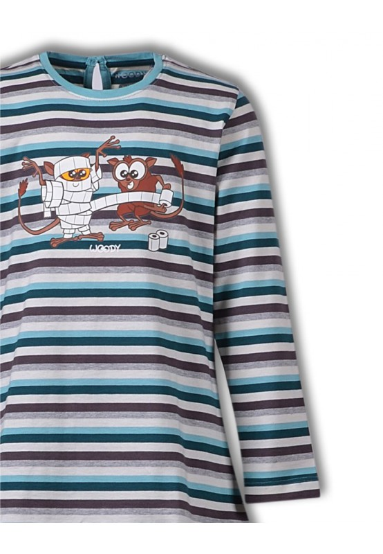 Woody Meisjes-Dames pyjama, petrol-grijsblauw gest