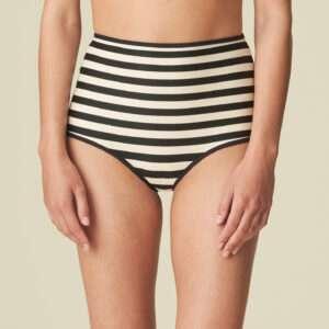 MERLE Noir Rayure bikini tailleslip